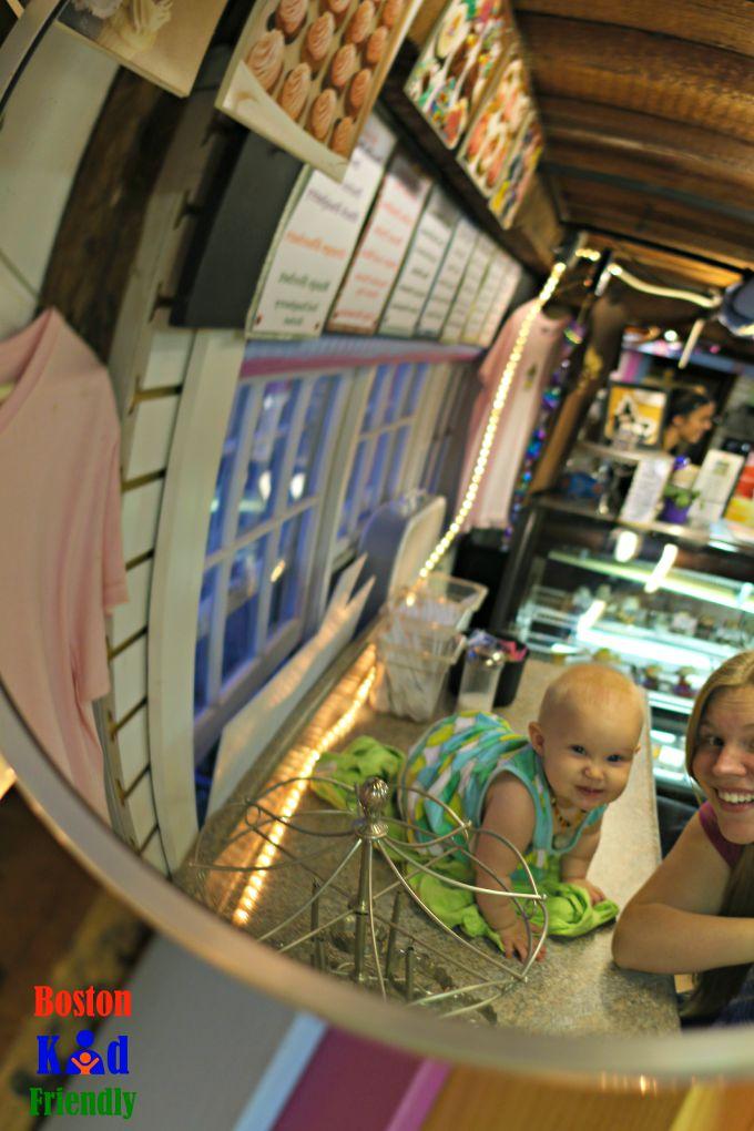 enjoying ice cream at rockin cupcakes rockport MA