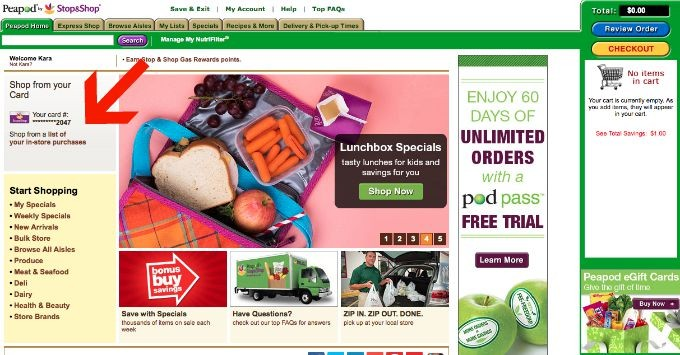 Use your Stop and Shop card even online when ordering groceries through Peapod by Stop and Shop