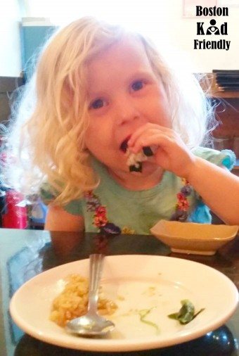 Toddler eating Unagi and Fried rice at Sakura Winchester, MA